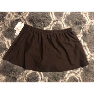 St Johns Bay Swim Skirt Skort Bottoms Brown SZ 16W